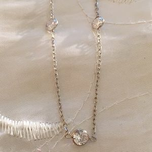 """Jewelry - Solid 14K White Gold 18"""" CZ Chain Necklace"""